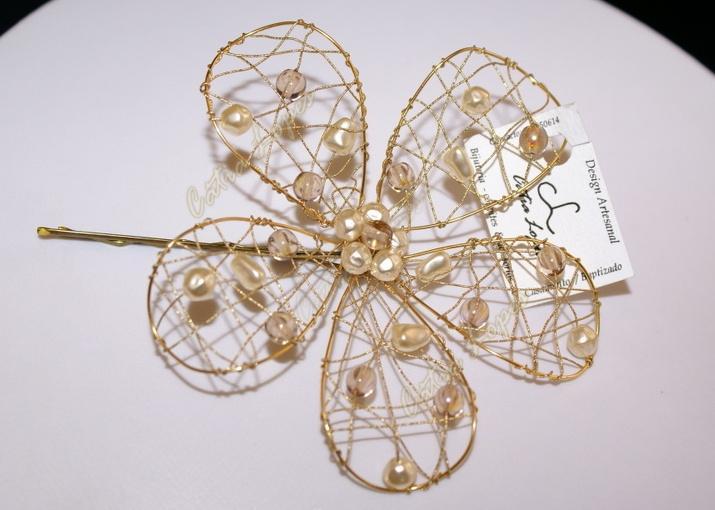 gancho flor4 - dourado