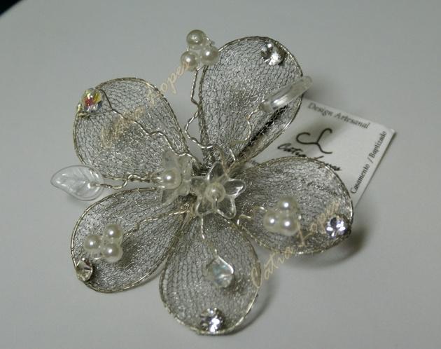gancho flor CINZA