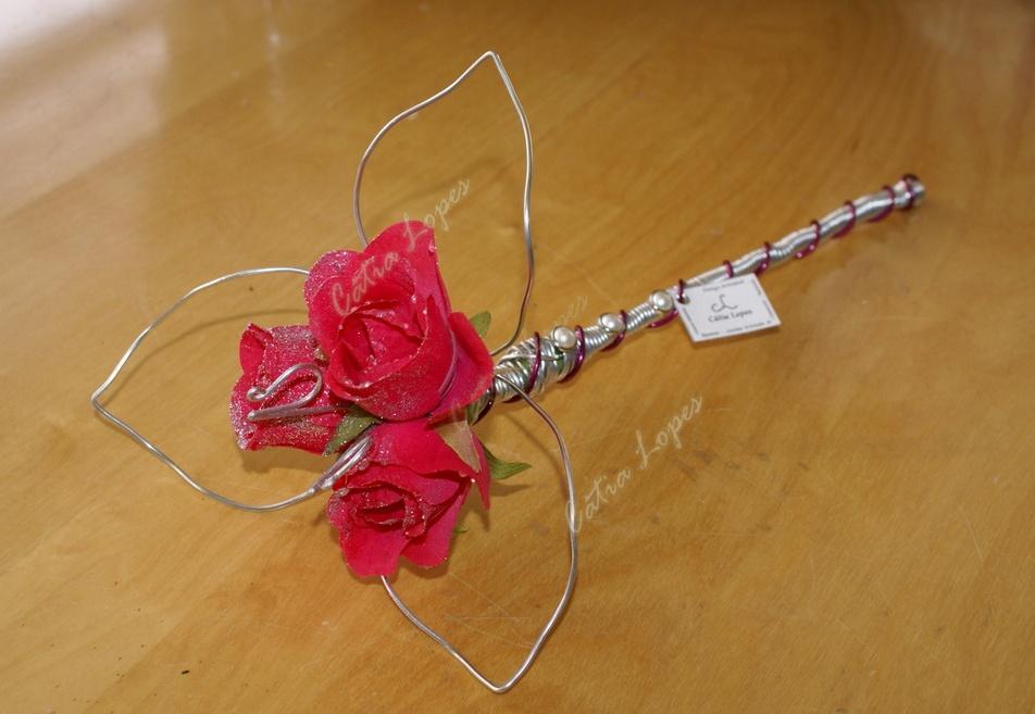 (Acessorios de Noivas) = PA - 3 rosas ROSA